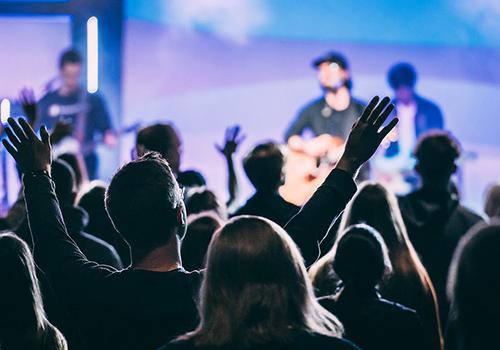 mercy hill church worship service, triad north carolina,  crowd singing